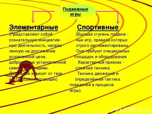 Элементарные Спортивные (Представляют собой (Высшая ступень подвиж - сознательную инициатив- ных игр, правила которых ную деятельность, направ - строго регламентированы. ленную на достижение Они требуют специальных условленной цели, площадок и обору…