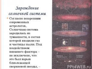 Зарождение солнечной системы Согласно воззрениям современных астрологов, Солнечн