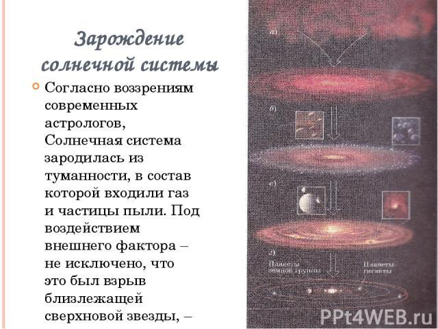Зарождение солнечной системы Согласно воззрениям современных астрологов, Солнечная система зародилась из туманности, в состав которой входили газ и частицы пыли. Под воздействием внешнего фактора – не исключено, что это был взрыв близлежащей сверхно…