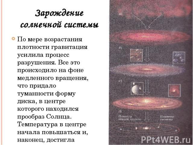 По мере возрастания плотности гравитация усилила процесс разрушения. Все это происходило на фоне медленного вращения, что придало туманности форму диска, в центре которого находился прообраз Солнца. Температура в центре начала повышаться и, наконец,…
