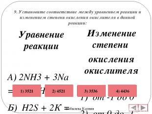 9. Установите соответствие между уравнением реакции и изменением степени окислен