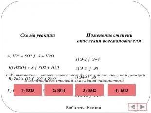 Бобылева Ксения Изменение степени окисления восстановителя 1) Э-2 → Э+4 2) Э-2 →