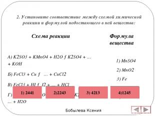 2. Установите соответствие между схемой химической реакции и формулой недостающе