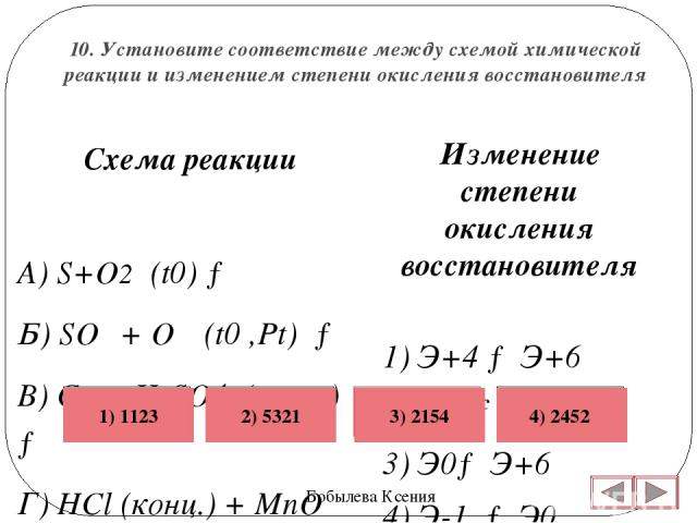 10. Установите соответствие между схемой химической реакции и изменением степени окисления восстановителя Бобылева Ксения Изменение степени окисления восстановителя 1) Э+4 → Э+6 2) Э0 → Э+4 3) Э0→ Э+6 4) Э-1 → Э0 5) Э0 → Э+2  Схема реакции А) S+O2 …