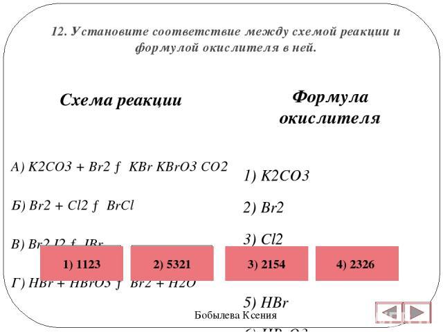 12. Установите соответствие между схемой реакции и формулой окислителя в ней. Бобылева Ксения Формула окислителя 1) K2CO3 2) Br2 3) Cl2 4) I2 5) HBr 6) HBrO3  Схема реакции A) K2CO3 + Br2 → KBr KBrO3 CO2 Б) Br2 + Cl2 → BrCl В) Br2 I2 → IBr Г) HBr +…