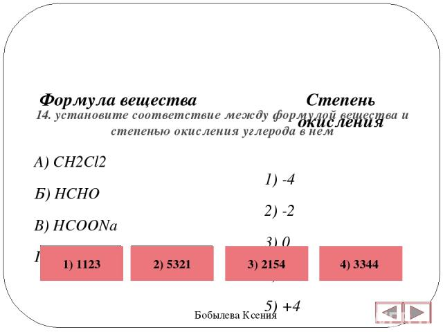 14. установите соответствие между формулой вещества и степенью окисления углерода в нем Бобылева Ксения Степень окисления 1) -4 2) -2 3) 0 4) +2 5) +4  Формула вещества А) CH2Cl2 Б) HCHO В) HCOONa Г) CBr2 Неверно Верно Неверно Неверно 4) 3344 3) 2…