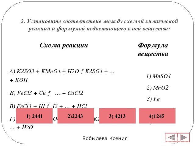 2. Установите соответствие между схемой химической реакции и формулой недостающего в ней вещества: Бобылева Ксения Формула вещества 1) MnSO4 2) MnO2 3) Fe 4) FeCl2 5) K2MnO4  Схема реакции А) K2SO3 + KMnO4 + H2O →K2SO4 + … + KOH Б) FeCl3 + Cu → … +…