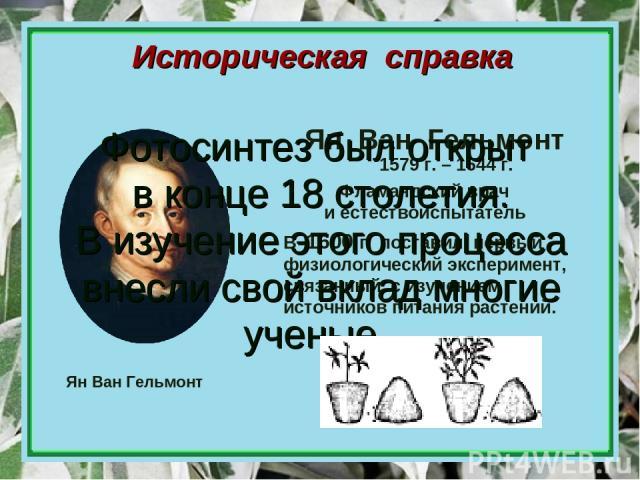 Историческая справка Ян Ван Гельмонт Ян Ван Гельмонт Фламандский врач и естествоиспытатель 1579 г. – 1644 г. В 1600 г. поставил первый физиологический эксперимент, связанный с изучением источников питания растений. Фотосинтез был открыт в конце 18 с…