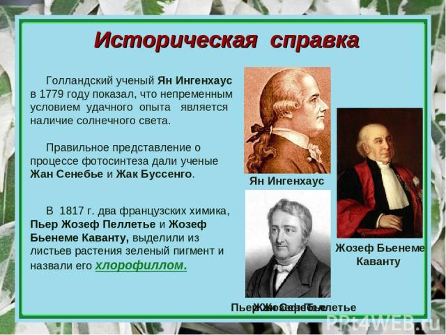 Историческая справка В 1817 г. два французских химика, Пьер Жозеф Пеллетье и Жозеф Бьенеме Каванту, выделили из листьев растения зеленый пигмент и назвали его хлорофиллом. Голландский ученый Ян Ингенхаус в 1779 году показал, что непременным условием…