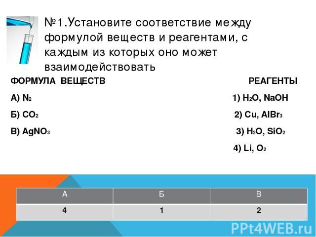 №3.Установите соответствие между названием вещества и реагентами, с которыми это вещество может взаимодействовать ФОРМУЛА ВЕЩЕСТВ РЕАГЕНТЫ А) магний 1) CO2, Na2SO4 Б) оксид железа (II) 2) NaOH, SO3 В) гидроксид бария 3) H2O, HCl 4) H2SO4, H2 А Б В 3 4 1