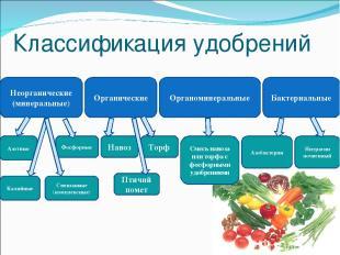 Классификация удобрений Неорганические (минеральные) Органические Органоминераль