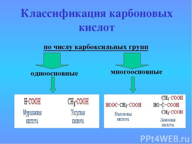 Классификация карбоновых кислот по числу карбоксильных групп одноосновные многоосновные