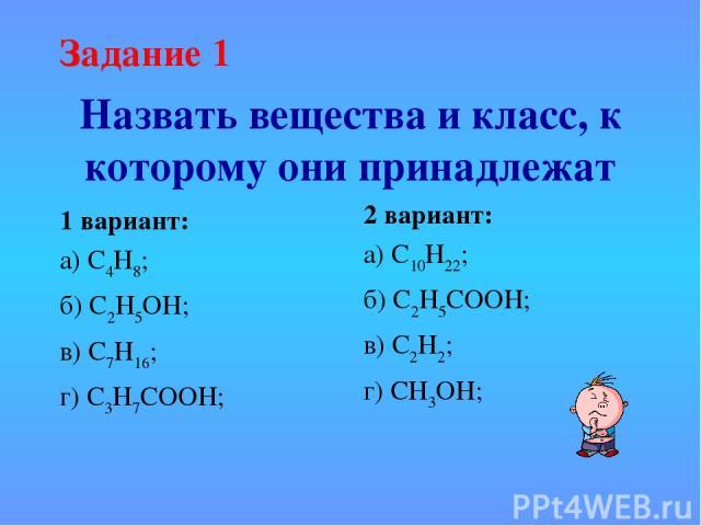 Назвать вещества и класс, к которому они принадлежат 1 вариант: а) С4Н8; б) С2Н5ОН; в) С7Н16; г) С3Н7СООН; 2 вариант: а) С10Н22; б) С2Н5СООН; в) С2Н2; г) СН3ОН;  Задание 1