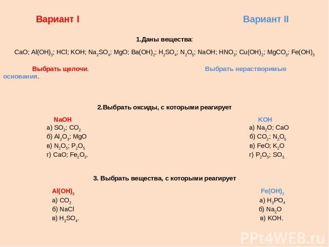 Вариант I Вариант II 1.Даны вещества: CaO; Al(OH)3; HCl; KOH; Na2SO4; MgO; Ba(OH)2; H2SO4; N2O5; NaOH; HNO3; Cu(OH)2; MgCO3; Fe(OH)3 Выбрать щелочи. Выбрать нерастворимые основания. 2.Выбрать оксиды, с которыми реагирует NaOH KOH а) SO2; CO2 а) Na2O…