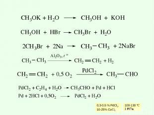 0,3-0,5 % PdCl2, 10-25% CuCl2 100-130 °C 1 МПа