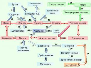 Этан Этилен Уксусная кислота Этаналь Этанол Этилацетат Ацетат натрия Метан Хлорэ