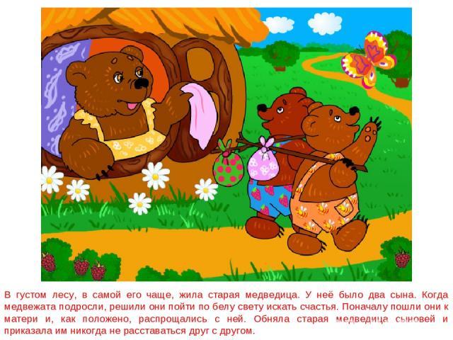 В густом лесу, в самой его чаще, жила старая медведица. У неё было два сына. Когда медвежата подросли, решили они пойти по белу свету искать счастья. Поначалу пошли они к матери и, как положено, распрощались с ней. Обняла старая медведица сыновей и …