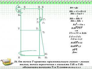 24. От точки Т провести горизонтальную линию – линию талии, точки пересечения с