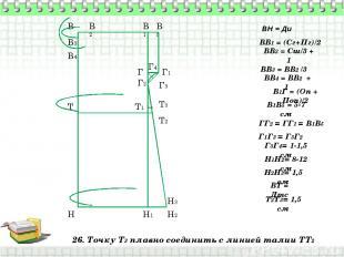 26. Точку Т3 плавно соединить с линией талии ТТ2 В Н ВН = Ди ВВ1 = (Сг+Пг)/2 В1