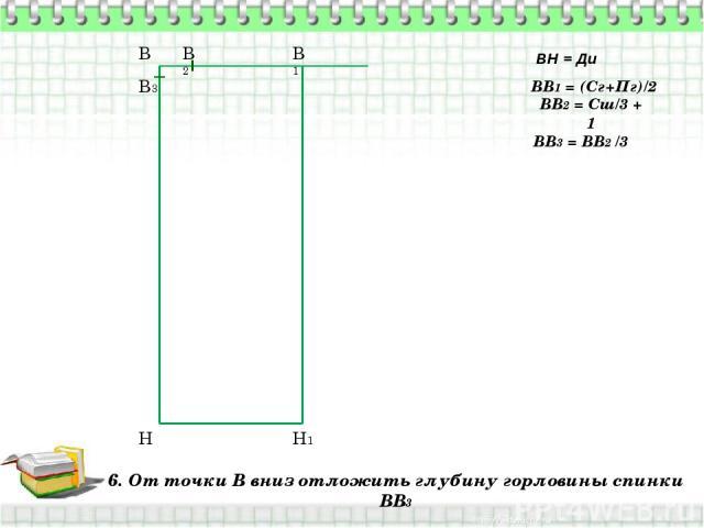 6. От точки В вниз отложить глубину горловины спинки ВВ3 В Н ВН = Ди ВВ1 = (Сг+Пг)/2 В1 Н1 ВВ2 = Сш/3 + 1 В2 ВВ3 = ВВ2 /3 В3
