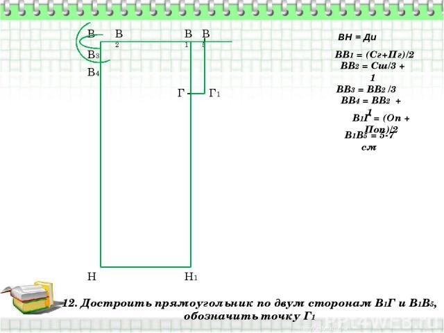 12. Достроить прямоугольник по двум сторонам В1Г и В1В5, обозначить точку Г1 В Н ВН = Ди ВВ1 = (Сг+Пг)/2 В1 Н1 ВВ2 = Сш/3 + 1 В2 ВВ3 = ВВ2 /3 В3 ВВ4 = ВВ2 + 1 В4 В1Г = (Оп + Поп)/2 Г В1В5 = 5-7 см В5 Г1