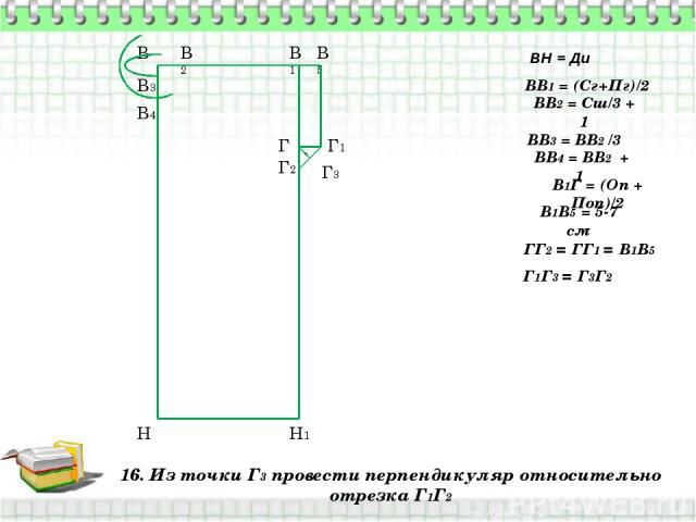 16. Из точки Г3 провести перпендикуляр относительно отрезка Г1Г2 В Н ВН = Ди ВВ1 = (Сг+Пг)/2 В1 Н1 ВВ2 = Сш/3 + 1 В2 ВВ3 = ВВ2 /3 В3 ВВ4 = ВВ2 + 1 В4 В1Г = (Оп + Поп)/2 Г В1В5 = 5-7 см В5 Г1 ГГ2 = ГГ1 = В1В5 Г2 Г1Г3 = Г3Г2 Г3