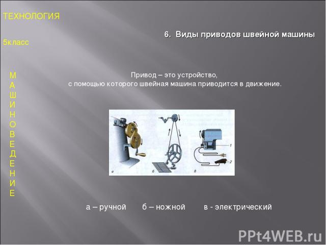 М А Ш И Н О В Е Д Е Н И Е ТЕХНОЛОГИЯ 5класс 6. Виды приводов швейной машины Привод – это устройство, с помощью которого швейная машина приводится в движение. а – ручной б – ножной в - электрический