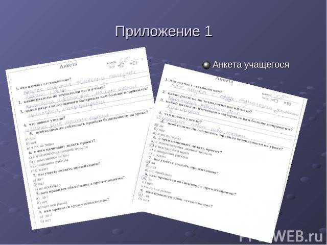 Приложение 1 Анкета учащегося