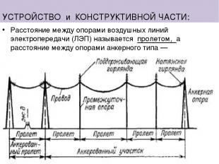 УСТРОЙСТВО и КОНСТРУКТИВНОЙ ЧАСТИ: Расстояние между опорами воздушных линий элек