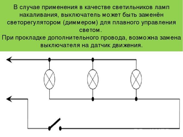 В случае применения в качестве светильников ламп накаливания, выключатель может быть заменён светорегулятором (диммером) для плавного управления светом. При прокладке дополнительного провода, возможна замена выключателя на датчик движения.