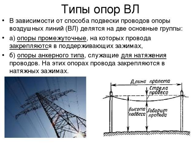 Типы опор ВЛ В зависимости от способа подвески проводов опоры воздушных линий (ВЛ) делятся на две основные группы: а) опоры промежуточные, на которых провода закрепляются в поддерживающих зажимах, б) опоры анкерного типа, служащие для натяжения пров…