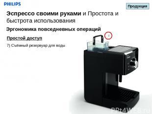 7 Простой доступ 7) Съёмный резервуар для воды Продукция Эспрессо своими руками