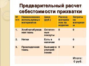 Предварительный расчет себестоимости прихватки № п/п Наименование используемых м