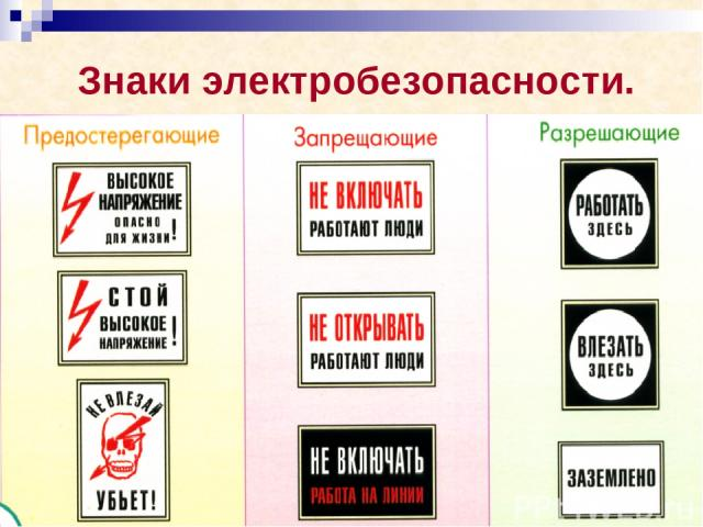 Знаки электробезопасности.