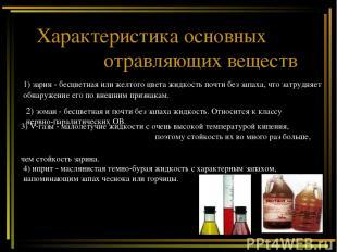 Характеристика основных отравляющих веществ 1) зарин - бесцветная или желтого цв