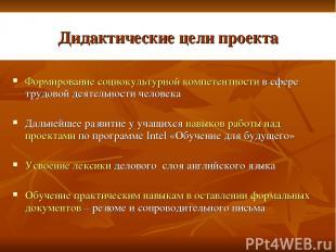 Дидактические цели проекта Формирование социокультурной компетентности в сфере т