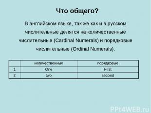 В английском языке, так же как и в русском числительные делятся на количественны