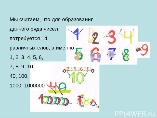 Мы считаем, что для образования данного ряда чисел потребуется 14 различных слов, а именно: 1, 2, 3, 4, 5, 6, 7, 8, 9, 10, 40, 100, 1000, 1000000