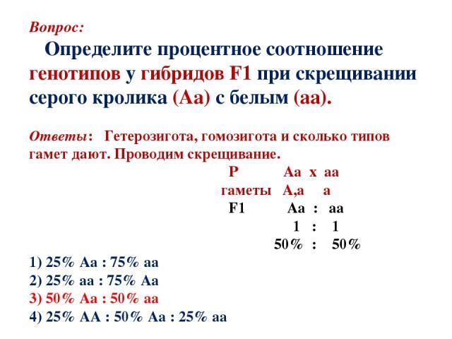 Вопрос: Определите процентное соотношение генотипов у гибридов F1 при скрещивании серого кролика (Аа) с белым (аа). Ответы: Гетерозигота, гомозигота и сколько типов гамет дают. Проводим скрещивание. Р Аа х аа гаметы А,а а F1 Аа : аа 1 : 1 50% : 50% …
