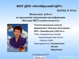 МОУ ДПО «Октябрьский ЦИТ» Выпускная работа по программе повышения квалификации «