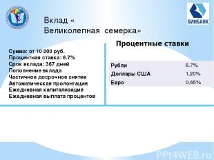 Вклад «Великолепная семерка» Сумма: от 10 000 руб. Процентная ставка: 6.7% Cрок