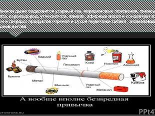 В табачном дыме содержится угарный газ, пиридиновые основания, синильная кислота