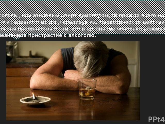 Алкоголь , или этиловый спирт действующий прежде всего на клетки головного мозга ,парализуя их. Наркотическое действие алкоголя проявляется в том, что в организме человека развивается болезненное пристрастие к алкоголю.