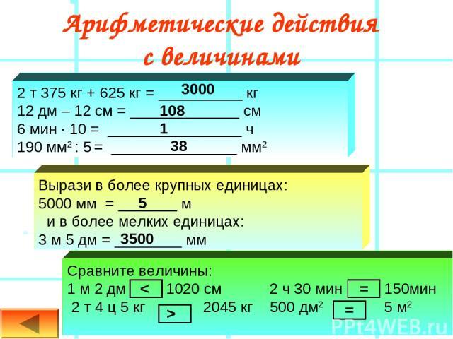 Арифметические действия с величинами 2 т 375 кг + 625 кг = __________ кг 12 дм – 12 см = _____________ см 6 мин ∙ 10 = ________________ ч 190 мм2 : 5 = _______________ мм2 Вырази в более крупных единицах: 5000 мм = _______ м и в более мелких единица…