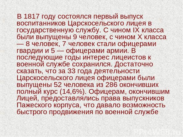 В 1817 году состоялся первый выпуск воспитанников Царскосельского лицея в государственную службу. С чином IX класса были выпущены 9 человек, с чином Х класса — 8 человек, 7 человек стали офицерами гвардии и 5 — офицерами армии. В последующие годы ин…