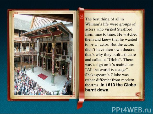 In 1949 an American actor Sam Wanamaker decided to rebuilt the Globe. It took many years to raise money, get permission and find out exactly what the place looked out like in the old days. On June 12 1997, Her Majesty the Queen opened the Internatio…