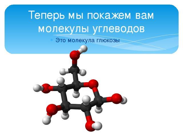 Это молекула глюкозы Теперь мы покажем вам молекулы углеводов