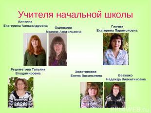 Учителя начальной школы Аликина Екатерина Александровна Золотовская Елена Василь