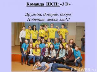 Команда ШСП: «3 D» Дружба, доверие, добро Победит любое зло!!!