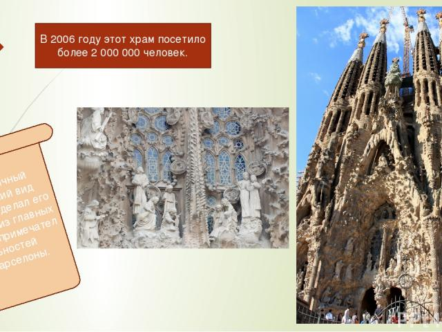 Необычный внешний вид храма сделал его одной из главных достопримечательностей Барселоны. В 2006 году этот храм посетило более 2 000 000 человек.
